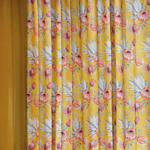 CACTUS FLOWER YELLOW CURTAIN
