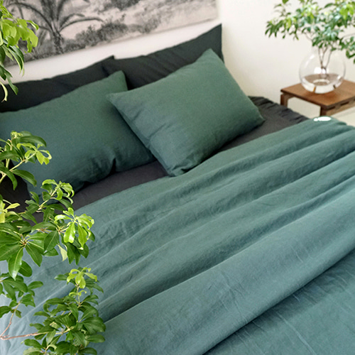 WASHED LINEN GREEN BEDDING SET